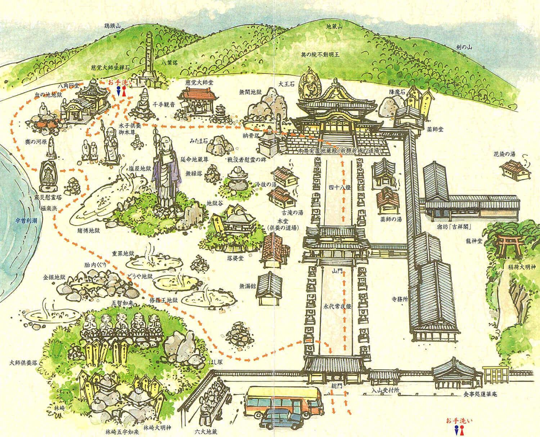 恐山境内の地図