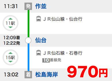 作並駅-松島海岸駅