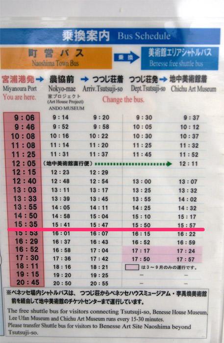 地中美術館行きのバスの時刻表