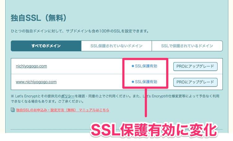 独自SSL保護有効