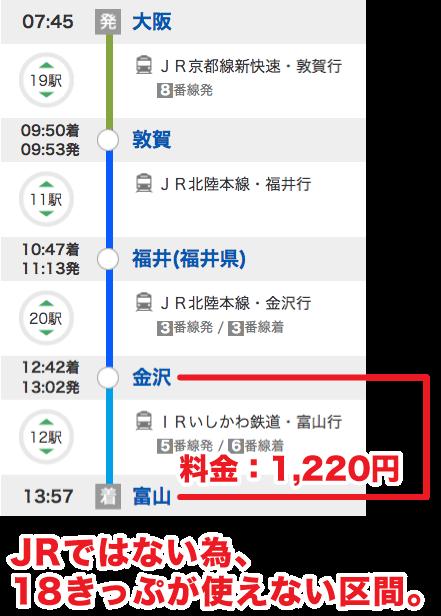 青春18切符_大阪から越中八尾