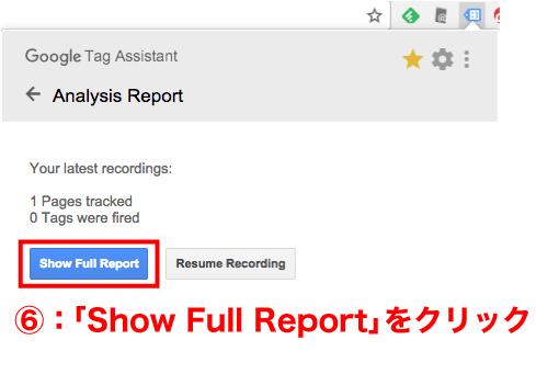 ShowFullReportをクリック