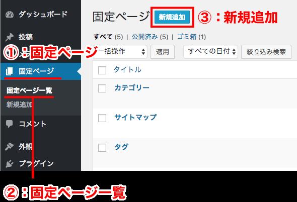 固定ページから新規追加を選択
