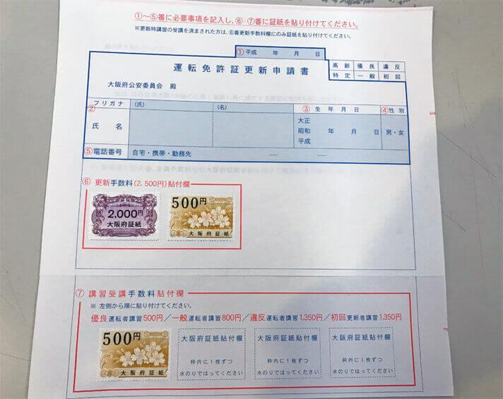 証紙が貼り付けられた運転免許証更新申請書