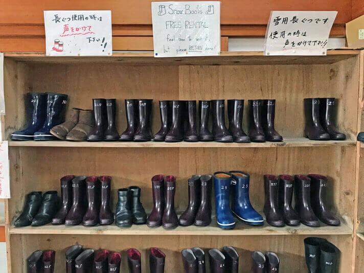 長靴の無料レンタルができる
