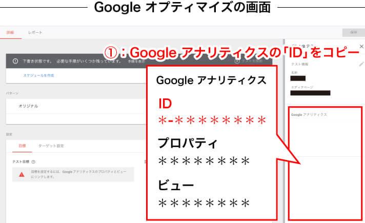 Googleオプティマイズの画面上でGoogleアナリティクスの「ID」をコピー