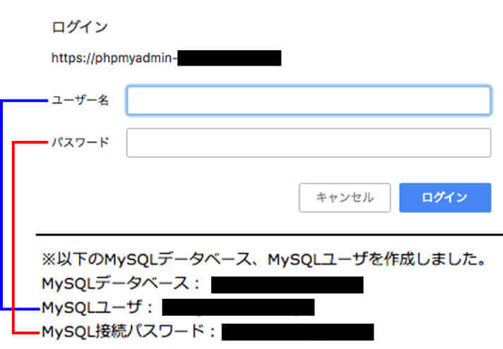 phpmyadminへログイン