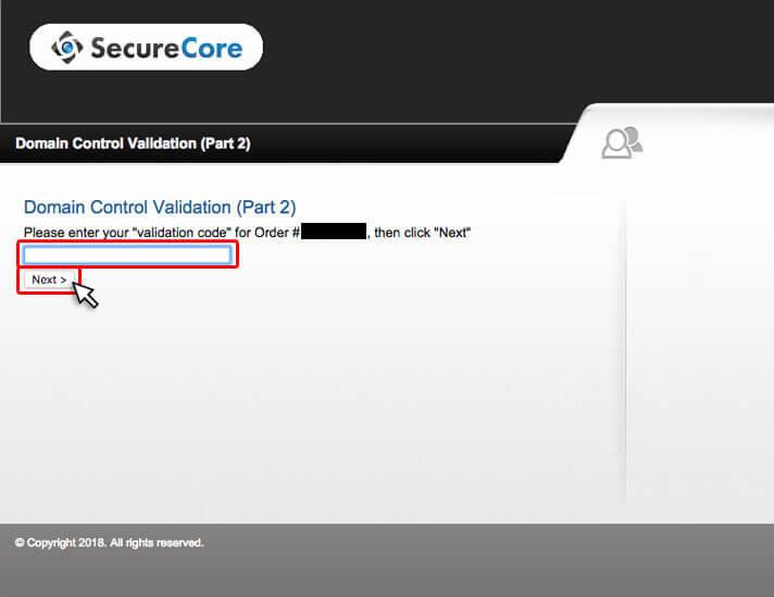 コピーしたvalidation codeを貼り付け、Next >をクリック