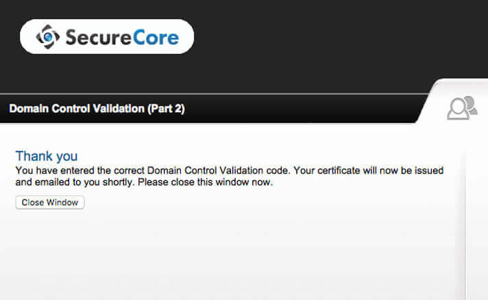 SSL証明書の取得申請が完了