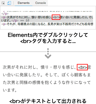 Elements内でダブルクリックしてもタグは反映されない
