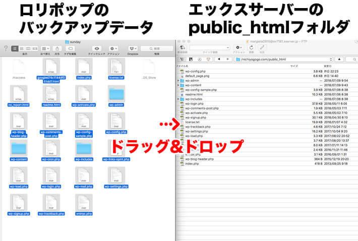 ロリポップのバックアップファイルからダウンロードしたWebサイトのデータを、エックスサーバーのpublic_htmlフォルダ内へアップロード