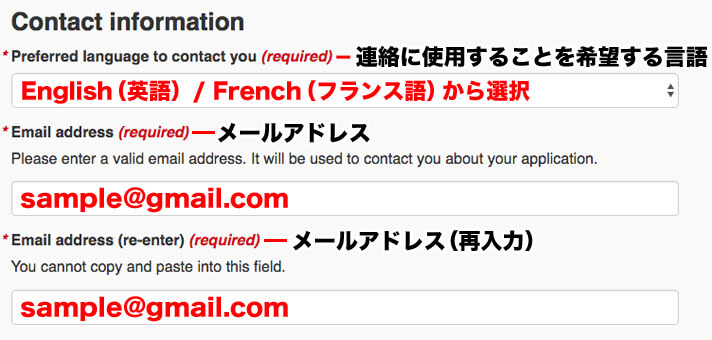 Contact information(Preferred language to contact you、Email address、Email address (re-enter) )を入力