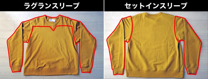 masao shimizu(マサオ シミズ)の半身フレアスウェットの特徴|フロントはラグランスリーブ、バックはセットインスリーブ