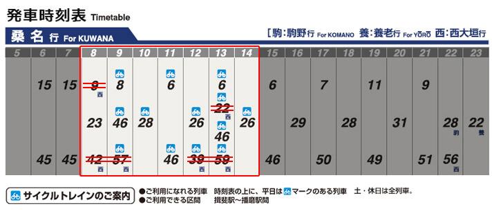 養老鉄道 大垣駅の時刻表