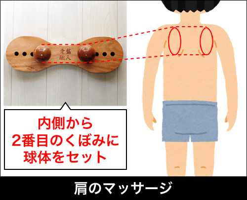 肩こり・腰痛を解消するマッサージ器具「骨盤職人」|肩のマッサージの場合、内側から2番目のくぼみに球体をセットする