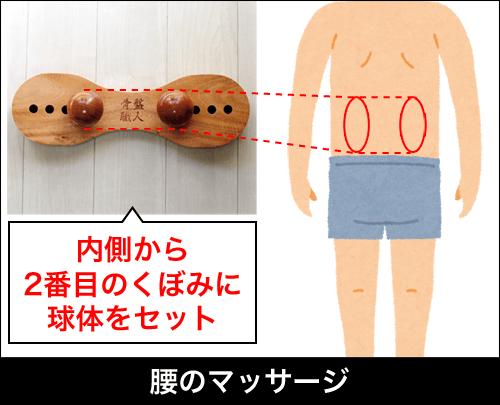 肩こり・腰痛を解消するマッサージ器具「骨盤職人」|腰のマッサージの場合、内側から2番目のくぼみに球体をセットする