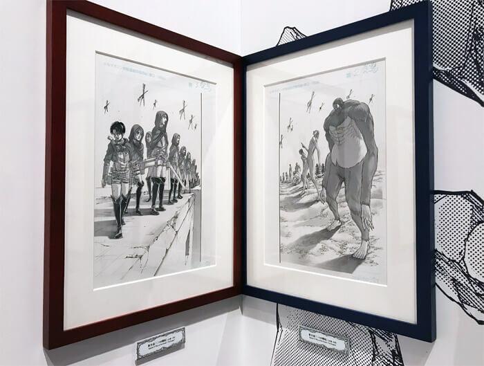 『進撃の巨人展FINAL』を写真で振り返り in 大阪・ひらかたパーク|原画の世界2「衝突と死闘」|マーレの巨人部隊を率いるジークと対峙するパラディ島の勢力「調査兵団」