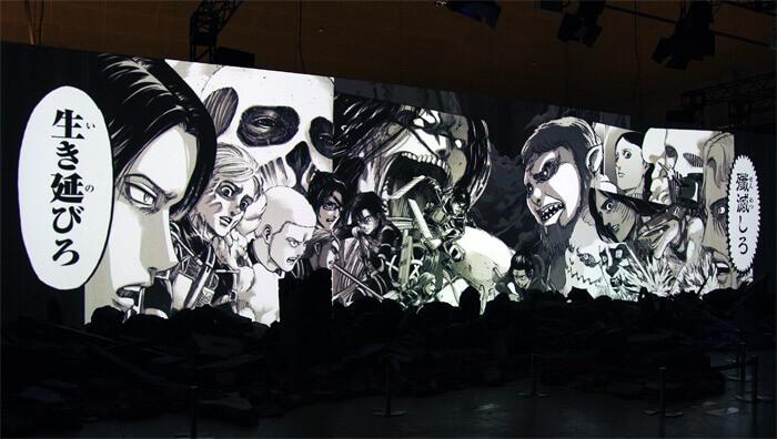 『進撃の巨人展FINAL』を写真で振り返り in 大阪・ひらかたパーク|1分の1ジオラマシアター「巨人大戦」|パラディ島 対 マーレの戦争
