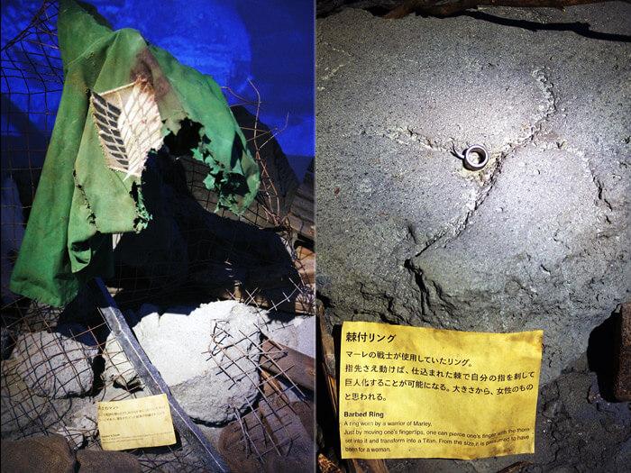 『進撃の巨人展FINAL』を写真で振り返り in 大阪・ひらかたパーク|現物展示「惨劇の気配」|兵士のマントと棘付リング