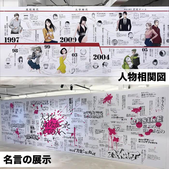 左ききのエレン展|キャラクター達の人物相関図と作内に出てきた数々の名言を展示
