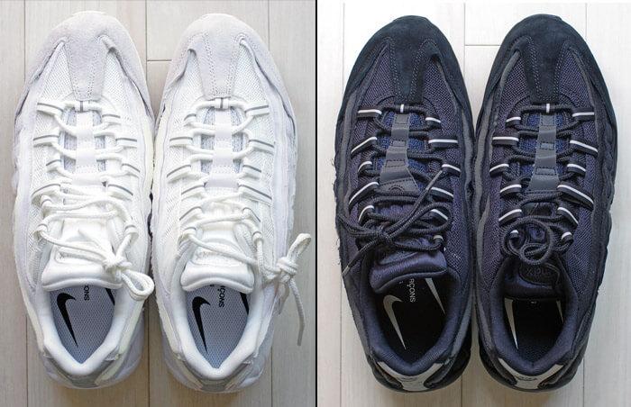 COMME des GARCONS(コム・デ・ギャルソン)× Nike(ナイキ)のコラボレーション スニーカー「Air Max 95(エアマックス 95)」|「黒」と「白」の正面写真