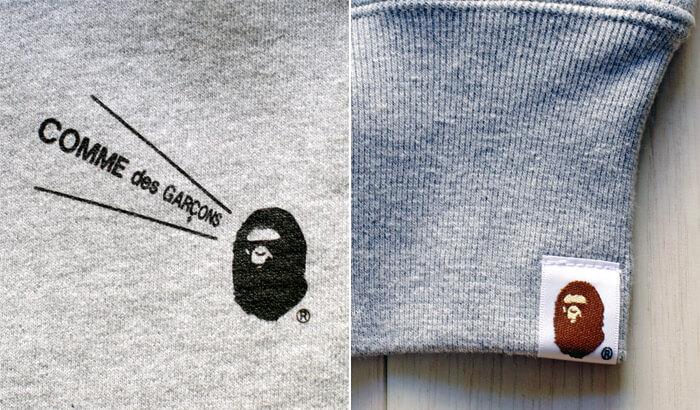 【大阪限定】COMME des GARCONS(コム・デ・ギャルソン)×A BATHING APE(ア・ベイシング・エイプ)のコラボTシャツとパーカー|袖口と胸のワンポイント