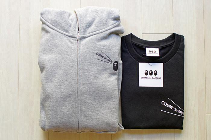 【大阪限定】COMME des GARCONS(コム・デ・ギャルソン)×A BATHING APE(ア・ベイシング・エイプ)のTシャツとジップアップフーディーの写真
