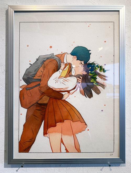 わかめとなみがキスしているシーン