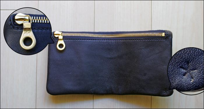 【Tochca(トーチカ)】クロコダイル内縫い折財布の裏地、ロゴ、ジップの写真