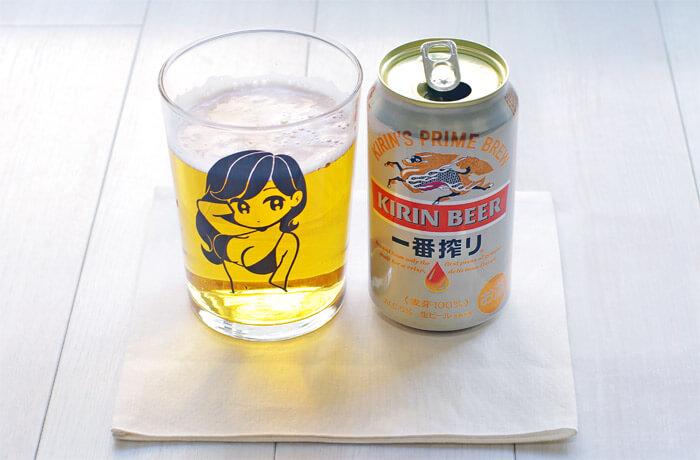 【完売必至アイテム】人気イラストレーター「conix(コニックス)」のビアグラスを購入|缶ビール350mlとビアグラスを並べた写真